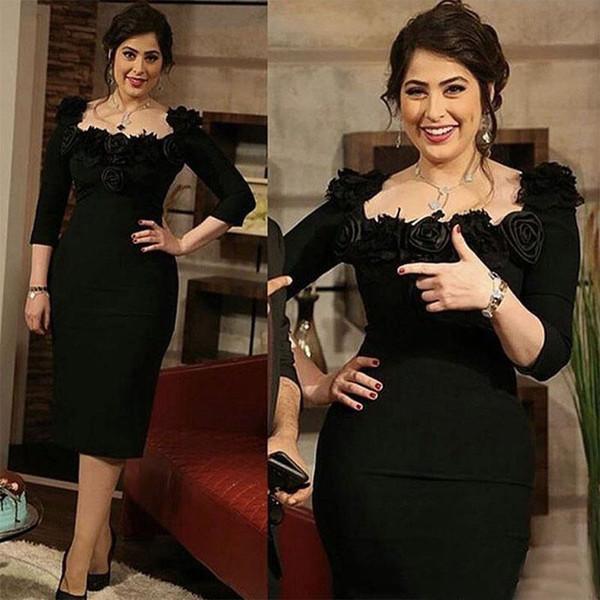 Zarif Siyah Kılıf 3 4 Uzun Kollu Çay Legnth Artı Boyutu anne Gelin Elbiseler El Yapımı Çiçekler Anne Damat Elbise