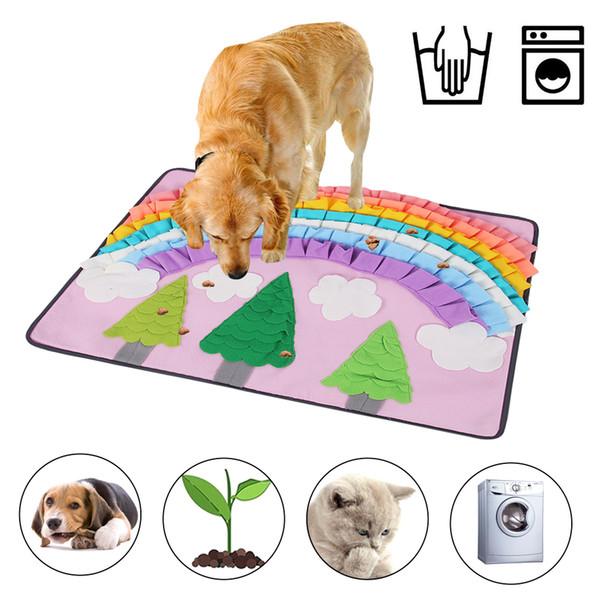 Puzzle perro Juguete para mascotas snuffle gato Alimentar Mat Boring Manta juego interactivo del tren del arco iris Globo snuffle juego de entrenamiento de Mats