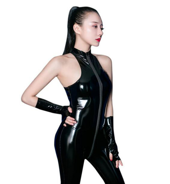 PVC Shiny Long Zipper Open Crotch Bodysuit Halter Latex Shaping Bodysuit Body Stockings Erotic Lingerie With Glove