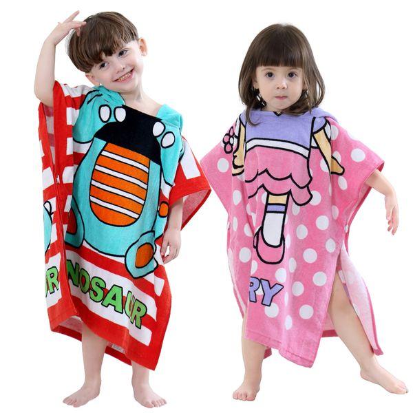 Wholesale Korean Style Children Cotton Cartoon Bathrobe Boys Girls Baby Towel Cape Cloak Bath Towel Beach Towel Sleepwear 9 Styles Choose