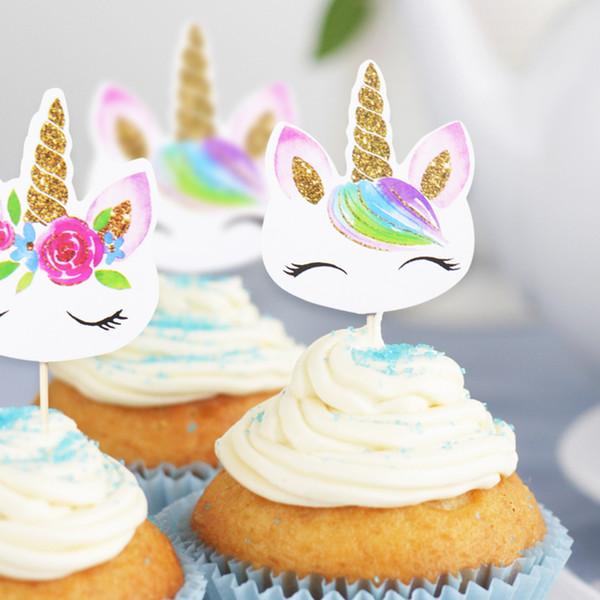 24Pcs/set Unicorn Party Cake Insert Bachelorette Party Wedding Decoration Happy Birthday Baby Shower Party Supplies DIY