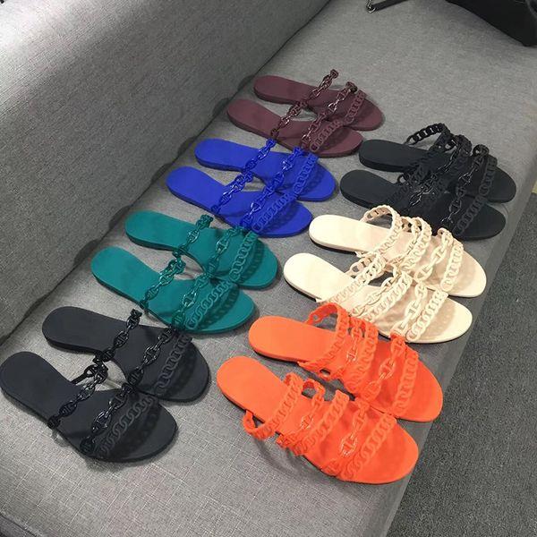 Tasarımcı Terlik Kadın Sandalet Perçinleme Chaine d'Ancre kauçuk jöle Sandalet Slaytlar Düz Çevirme Terlik Parti Düğün Ayakkabı Kutusu Ile