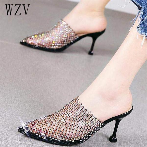 Chinelos de senhora de cristal de luxo deslizar no dedo do pé apontado mulheres de salto alto ao ar livre estilete sexy chinelo sapatos mulher desliza E888