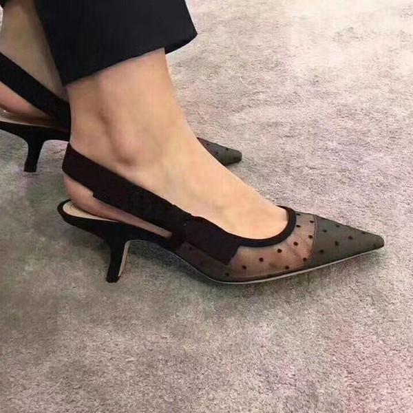 Rhinestone Heel Brand Pointed toes Designer Slingbacks Pumps Women Lace Sandals High Heels Ladies Shoes Elegant black banquet shoe