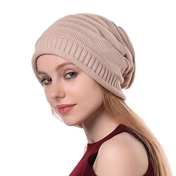1b1d126a 2019 Fashion Hat Womens Winter Knit Slouchy Beanie Baggy Warm Soft Chunky  Stripe Hat Caps Hot Sale Beanie Caps Slouchy Beanie Crochet Pattern From ...