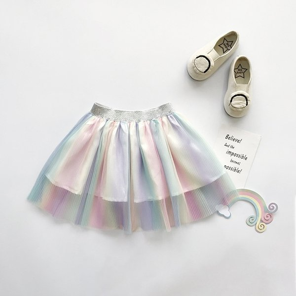 children girls lovely rainbow color mesh fluffy loose pleated elastic band princess skirt