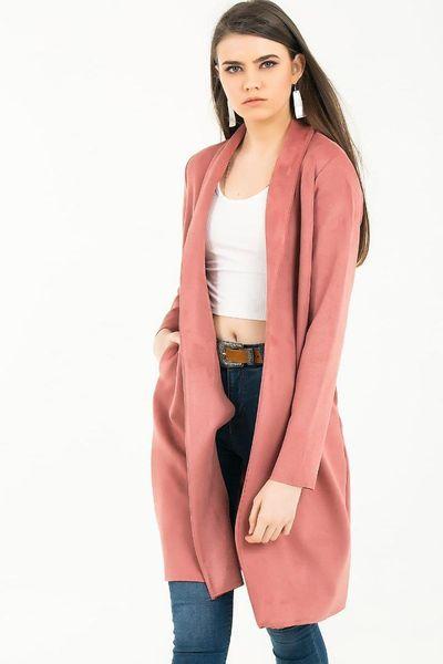 You Special Respect Women 'S  Shawl Collar Pocket Lycra Suede Jacket S-19Y2800031