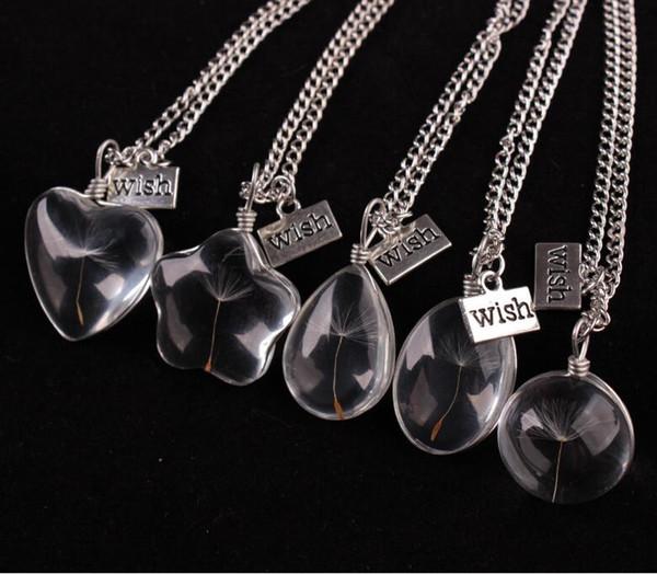 Kadınlar Kız Takıları 2017 Yeni İstek kolye Gerçek Karahindiba Tohum Kristal Cam Topu Kolye Uzun Gümüş Zincir Kolye