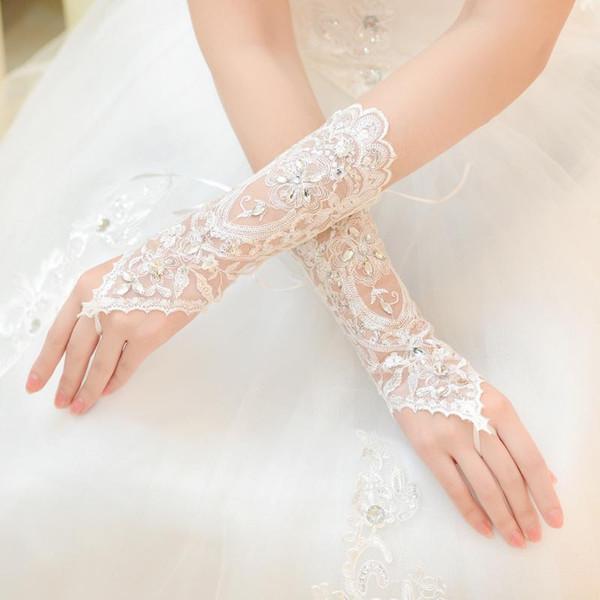 Кристаллы свадебные аксессуары кружево перчатки для невест Fingerless Ниже Колено Длина Роскошное Короткие кружева невесты Свадебные перчатки Свадебные перчатки