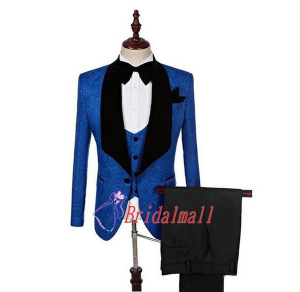 Royal Blue Black Groom Tuxedos 3 Pieces Shawl Lapel Mens Suit Wedding Suits Prom Party Tux Best Man Formal Office Suits (Jacket+Pants+Vest)
