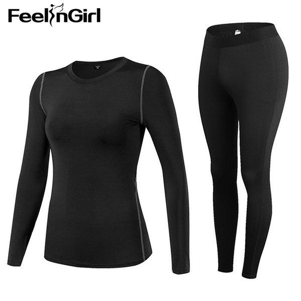Feelingirl Women Winter Long Johns Slimming Sweat Quick-drying Stretch Compression Fleece Shaped Thermal Underwear Sets