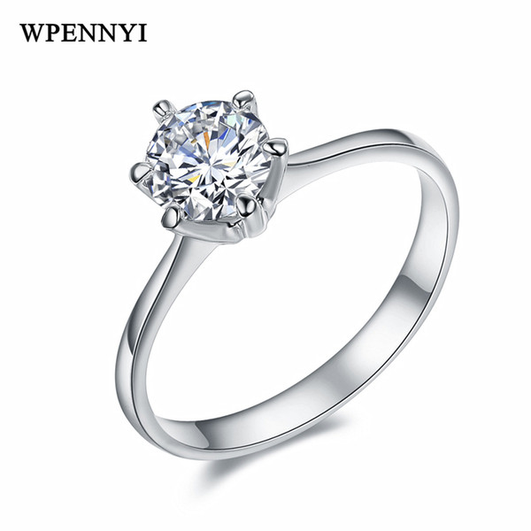 top popular Classic Wedding Ring Silver Color 6 Prong 6mm 0.75ct Sparkling Cubic Zirconia Forever Woman Christmas Gift 2019