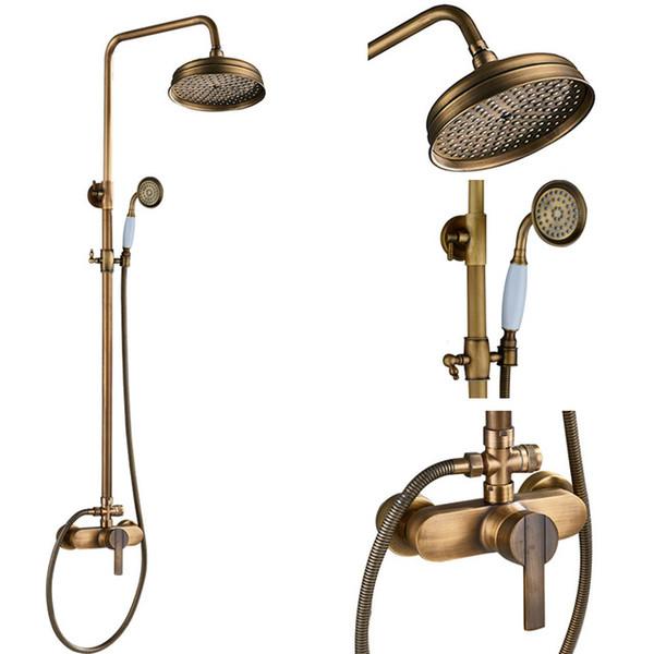 Antique Brass Shower Faucets Set 8'' Rainfall Round Shower Head Brass Handshower Single Handle Mixer Tap Bath Shower Faucet
