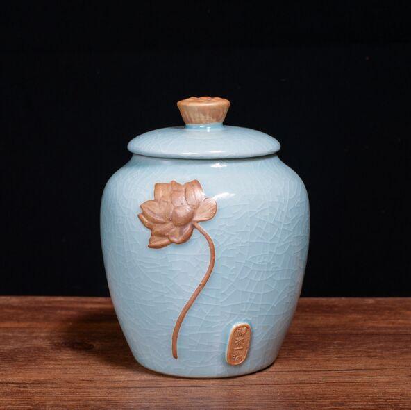 Contenitore di ceramica del contenitore di ceramica 2019 del tè verde di longjing del tè della molla Contenitore di stoccaggio creativo del barattolo di sigillamento del tè
