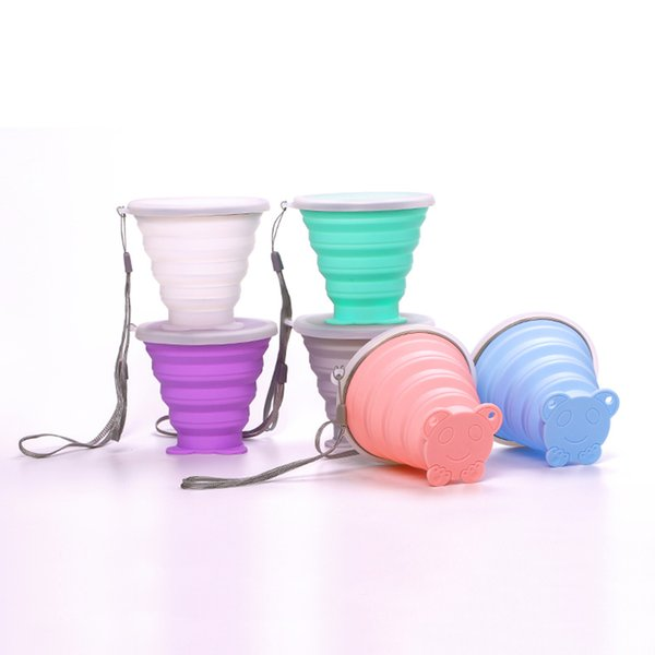 201-300ml Travel Cup Stainless Steel Silicone Retractable Folding cups Telescopic Collapsible Coffee Outdoor Sport Water Cup