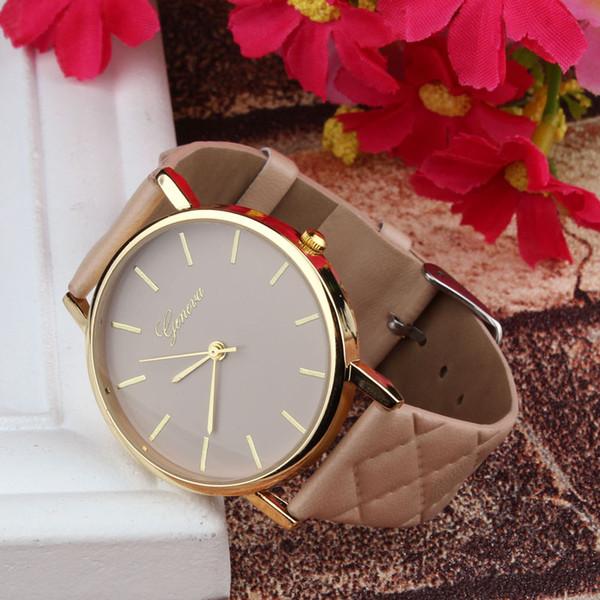 Новые часы женщины шашки искусственные леди платье часы, женские повседневные кожаные кварцевые часы аналоговые наручные часы подарки relogios