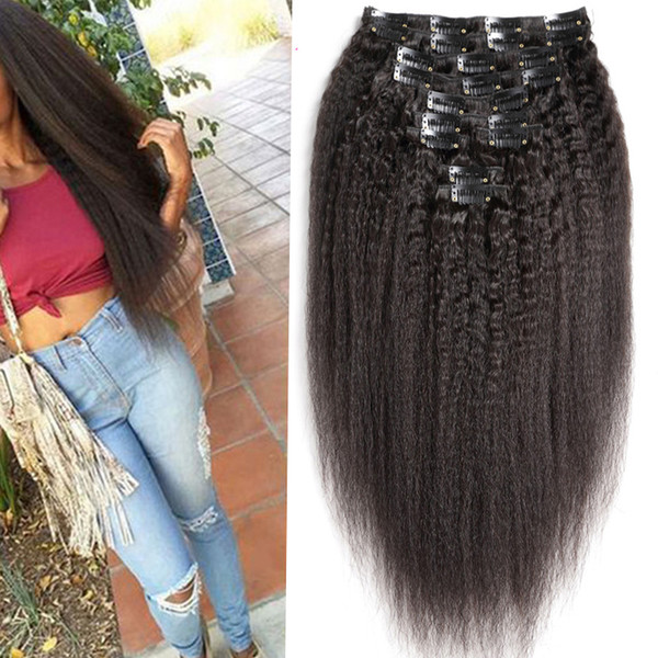 Coarse Yaki Brazilian Remy Kinky Straight Hair Clip In Human Hair Extensions 10 Pieces/Set Full Head Sets Coarse Yaki Clip Ins 120G
