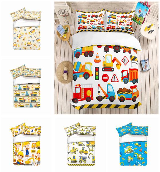 Cartoon Building Construction Design Bedding Set 2PC/3PC Duvet Cover Set Of Quilt Cover & Pillowcase Twin Full Queen King Size