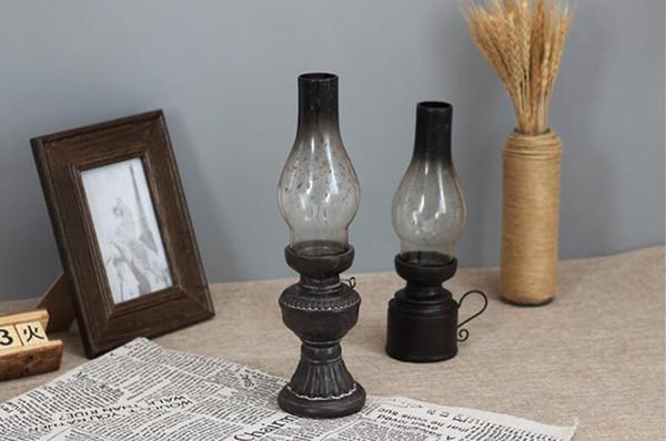 Creative résine Artisanat Nostalgique Kérosène Lampe Bougeoir Décoration verre Couverture vintage Lanterne Bougeoirs Décoration intérieure Cadeaux
