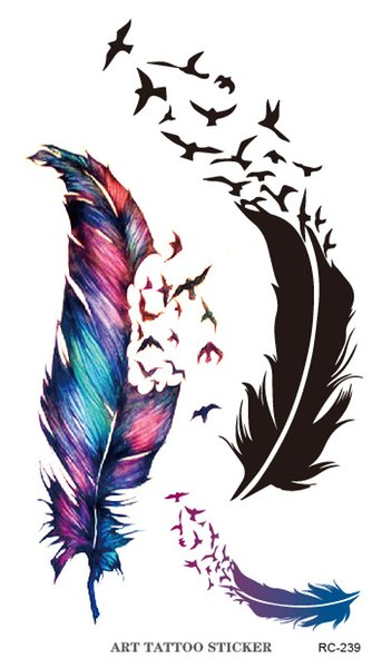 RC2239 Body Art Water Transfer Flash Fake Tattoo Sticker Temporary Tattoo Sticker Blue Black The Wind Blown Feathers Taty Tatoo
