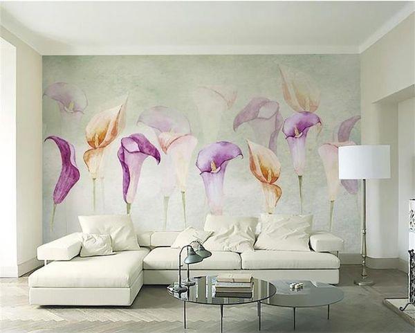 Personalizado 3D Foto Papel De Parede Mural Sala de estar Sofá TV Backdrop Mural Aquarela flor de lírio de calla Imagem Papel De Parede Mural Etiqueta Home Decor