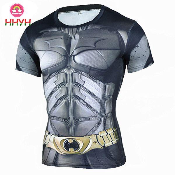 Tights Running Sport Shirt Mens Rashgard Fashion New Batman 3D Printed Short Sleeve T-Shirt Men Fitness Gym Quick Dry Tops Tees Clothing
