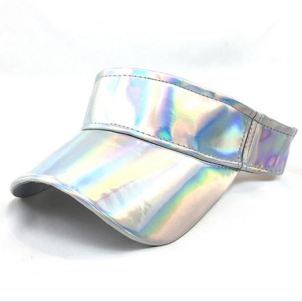 2018 Summer Unisex Visor Empty Laser Top Elastic Band Sun Hat Brim Blank Hats Beach UV Protection Caps For Men And Women