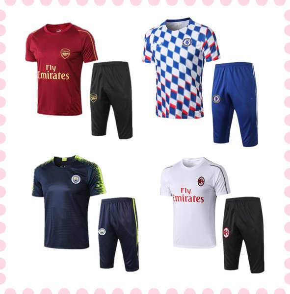 New Adult mens designer t shirts football training suit Short sleeve 3/4 pants 2019 maillot de foot soccer jersey tracksuit football shirt