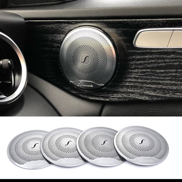 best selling 2019 4pcs For Mercedes Benz Car Audio Speaker Car Door Loudspeaker Trim Cover 2015-2018 C Class W205 GLC 2016-2018 E-Class Stainless steel