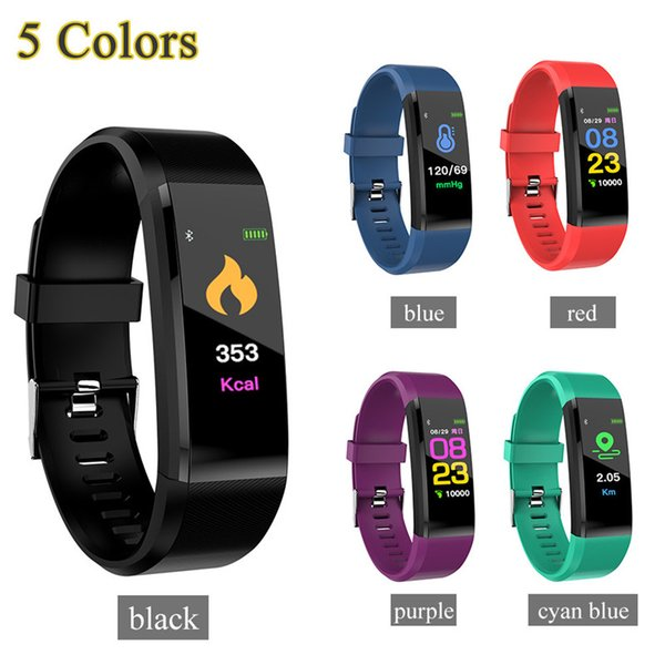 best selling fitbit ID115 Plus Smart Bracelet Fitness Tracker Smart Watch Heart Rate Watchband Smart Wristband For Apple Android Cellphones with Box