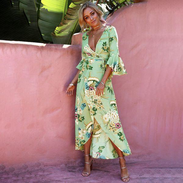 Floral Print Summer Maxi Dress Women Vintage V Neck Sundress Beach 2018 Spring 3/4 Flare Sleeve Boho Vestidos Y19052703