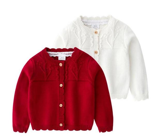 Camisolas das meninas Requintado 100% Algodão Menina de malha de manga longa Botões Elegante cor sólida camisola menina Primavera Outono Cardigan Camisola