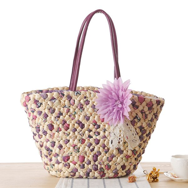 2019 Lady Fresh Handbag Summer Beach Handmade Woven Round Handbag Vintage Retro Knitted Bags Female Bag Tasseled Straw Handbags