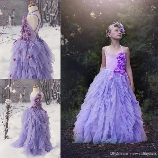 Lavenda Çiçek Kız Elbiseler V Yaka Geri Çapraz Criss El Yapımı Çiçekler Ile Küçük Kızlar Abiye Katmanlı Fırfır Custom Made Prenses Abiye
