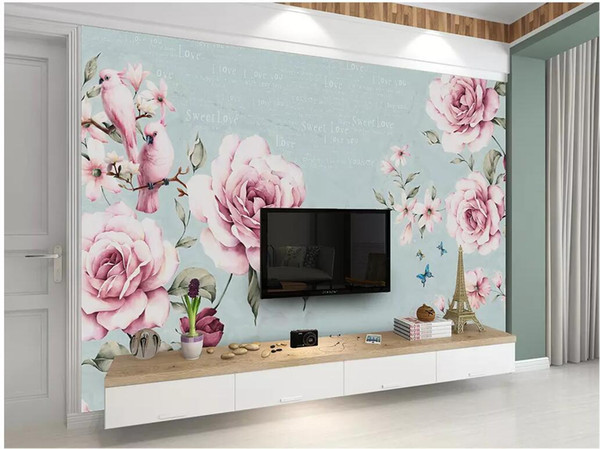 Wdbh 3d Wallpaper Custom Photo Hand Painted Watercolor Flower Vintage English Decor 3d Wall Murals Wallpaper For Walls 3 D Living Room Butterfly