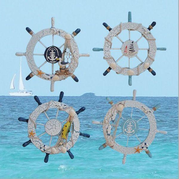 28cm Wooden Boat Ship Rudder Rete da pesca Conchiglie Home Decor Stile Mediterraneo Blu Bianco da parete Decorazioni nautiche