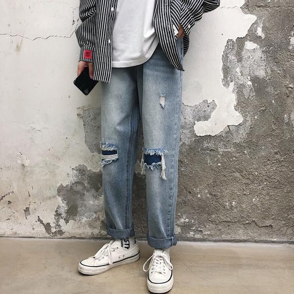 Hong Kong-Style Ins рваных джинсов мужского отрывного Fit Straight-Cut Корейской версия Тенденции Net Red Hip Hop Обрезанный патч нищего штаны