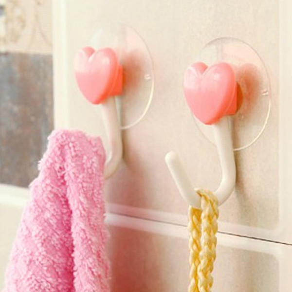 2 pz / lotto rosa amore cuore cucina bagno appendiabiti da parete gancio di plastica ganci a ventosa forte ventosa ventosa vuoto ganci senza traccia