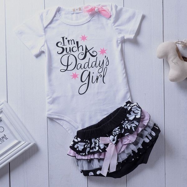 New Bodysuits Short Sleeve Cotton Cute Lace Shorts Ruffles Summer Clothing 2pcs Newborn Infant Baby Girls Clothes Sets Tops