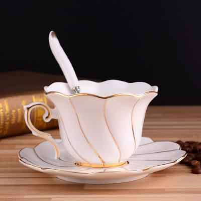 High-grade Painted Gold Porcelain Coffee Cups Bone China Afternoon Tea Cup and Saucer with Spoon Pure Phnom Penh Hotel Supplies ZJ0140