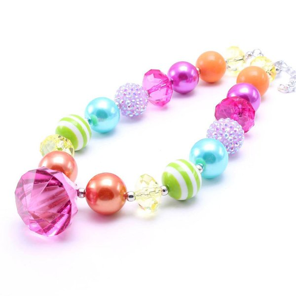 best selling Multicolor Design Kid Chunky Necklace Diamond Pendant Bubblegum Bead Chunky Necklace Children Jewelry For Toddler Girls