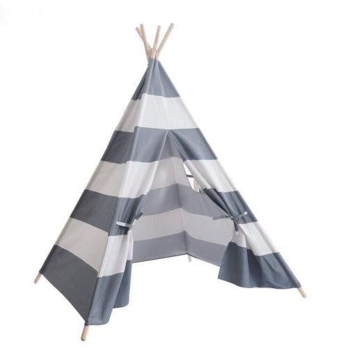 best selling Portable Playhouse Sleeping Dome Indian Teepee Tent Kids Play House Gray White