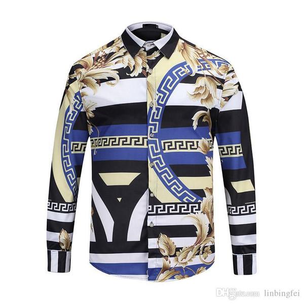 2018 Nuevos diseñadores de lujo Medusa Baroque Camisas de vestir con estampado Slim Fit Camisas de algodón para hombres Estampado negro Casual Business Tops 2XL