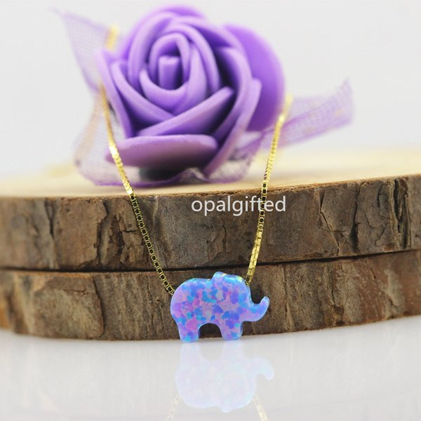 1pc In Stock Synthetic Opal Elephant Pendant Necklace Fire Op74 8x11mm Little Elephant With 925 Silver Gold Chain Free Shipping Y19050802