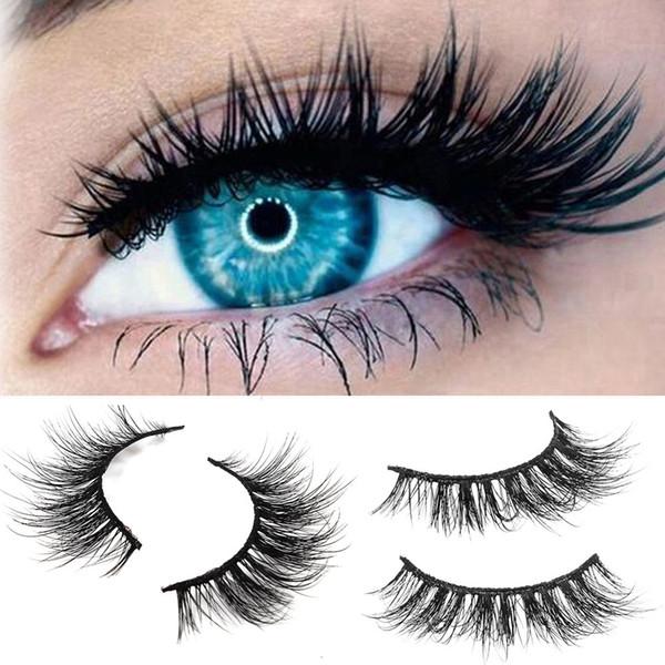 25533018217 Mink 3D Real Natural Thick False Fake Eyelashes Fluffy Long Thick Eye Lashes  Makeup Extension
