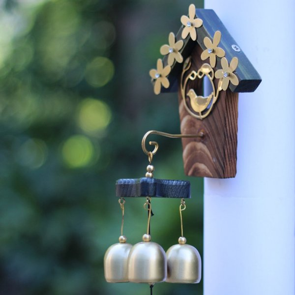 copper bird nest wind chimes antique house decoration windchimes outdoor garden bells wall hanging decoration gifts