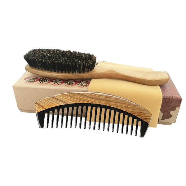 Hair Brush & Comb Set Boar Bristle Brush Wholesale Supplier Green Sandalwood Ox Horn Pocket Travel Comb Detangling Curly Hair Wholesale