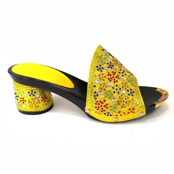 Hot sale yellow rhinestone women shoes with crystal decoration flower style african shoes for dress V53-1,heel 7.5CM