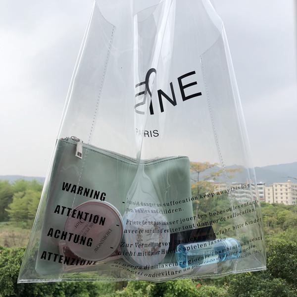Designer- 2019 Brand Logo Clear PVC Women Handbags Jelly Transparent Plastic Summer Beach Bags Fashion 2PCS Tote