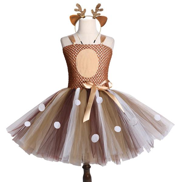 Brown Deer Girls Tutu Dress Halloween Christmas Deer Costume Kids Tutu Dresses For Girls Birthday Party Dress Children Clothing J190616